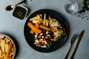 GRILLED CHICKEN, ROASTED ROOTS & GREEK TAPENADE