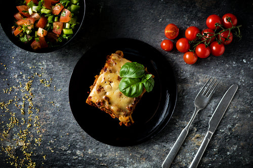 PULLED OAT LASAGNA & SPRING ONION SALAD