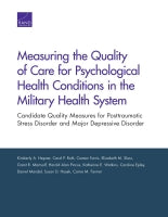 Measuring the Quality of Care for Psychological Health Conditions in the Military Health System: Candidate Quality Measures for Posttraumatic Stress Disorder and Major Depressive Disorder
