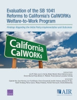 Evaluation of the SB 1041 Reforms to California's CalWORKs Welfare-to-Work Program: Findings Regarding the Initial Policy Implementation and Outcomes
