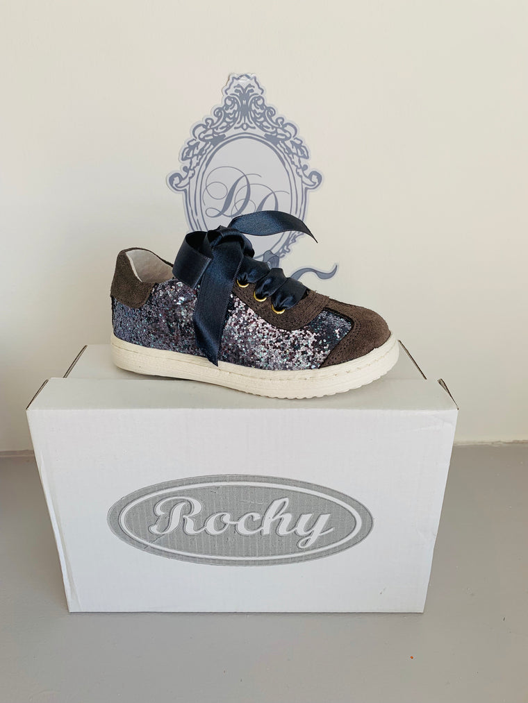 Rochy Grey Glitter Ribbon Tie Shoe