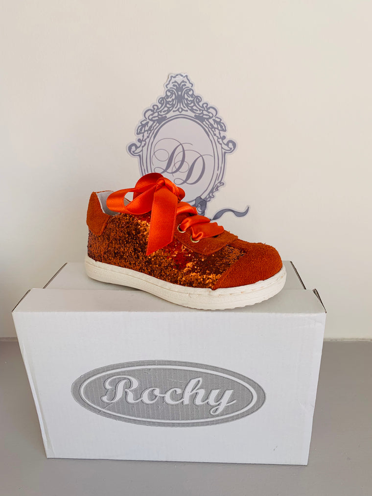 Rochy Orange Glitter Ribbon Tie Shoe