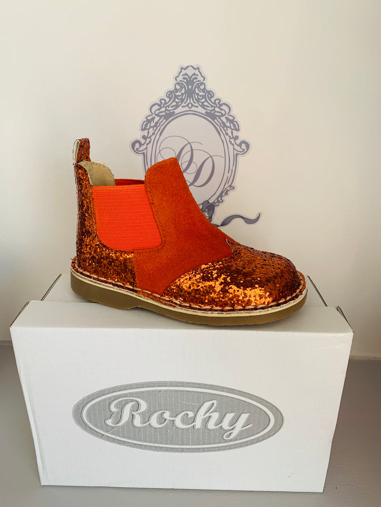 Rochy Orange Glitter Chelsea Boot