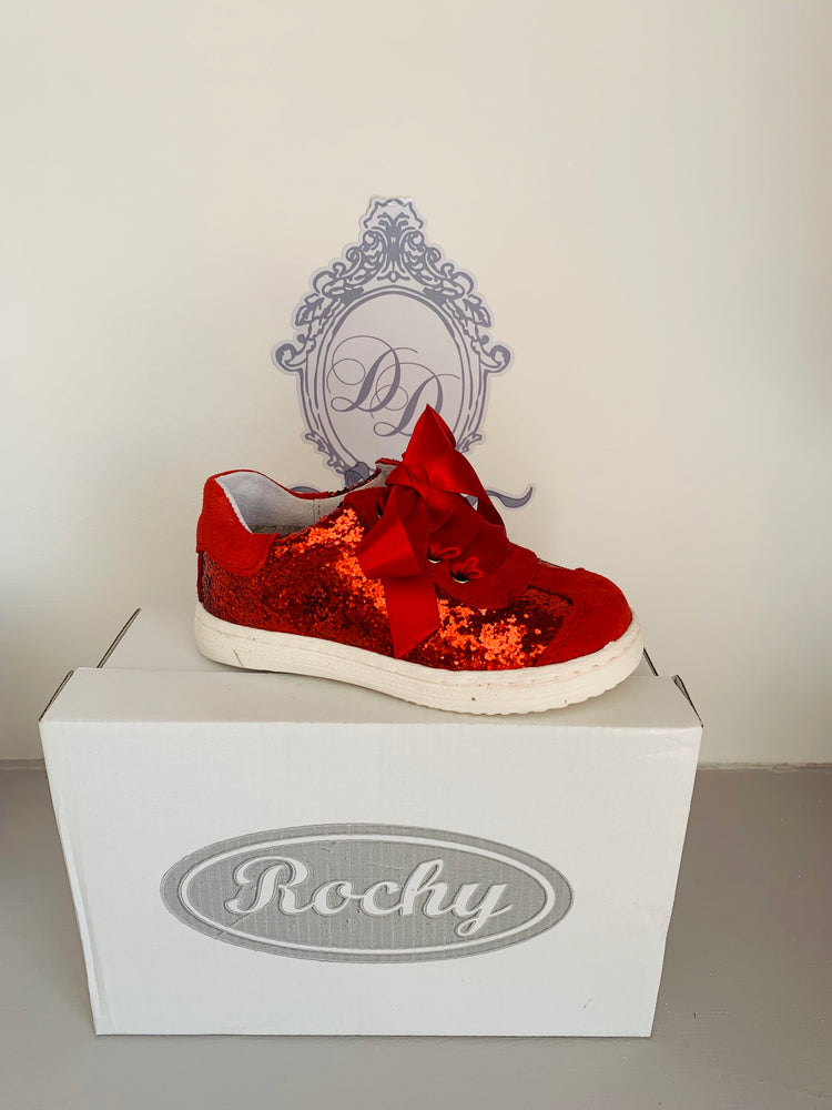 AW19 Rochy Red Glitter Ribbon Tie Shoe