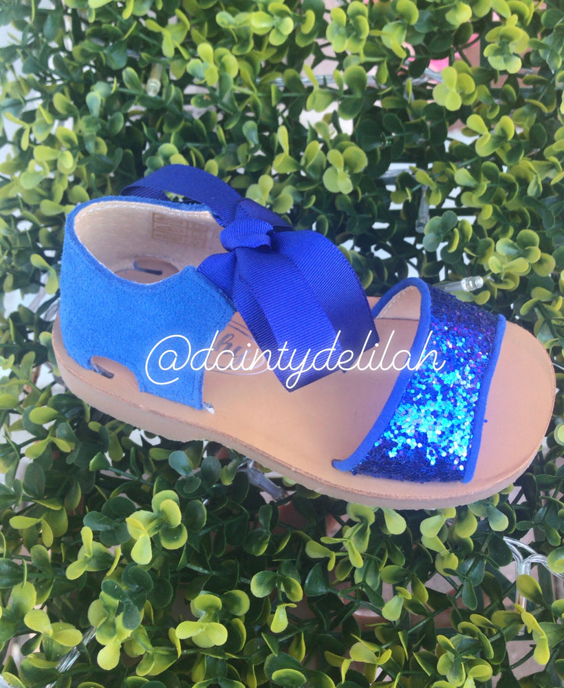 SS19 Rochy Girls Royal Blue Glitter Sandals - dainty delilah spanish childrens wear