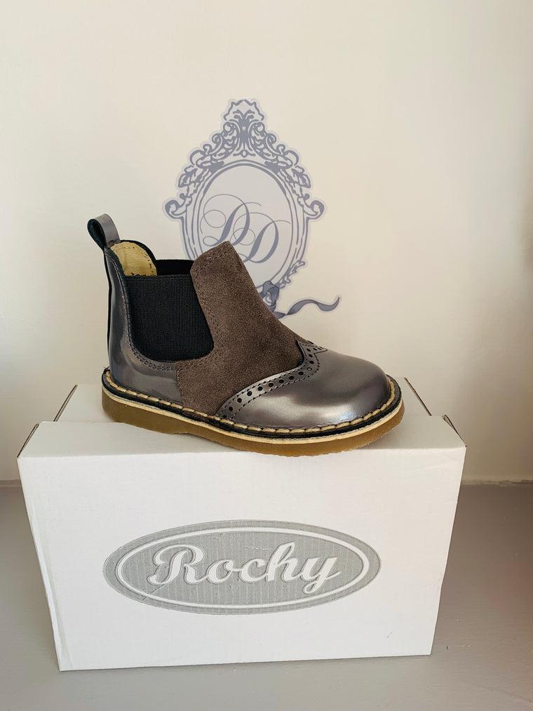 Rochy Metallic Grey Leather Chelsea Boot