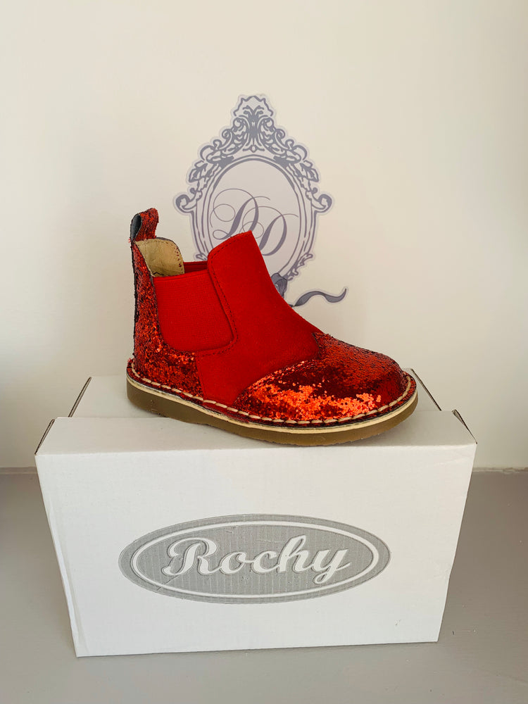 Rochy Red Glitter Chelsea Boot - dainty delilah spanish childrens wear
