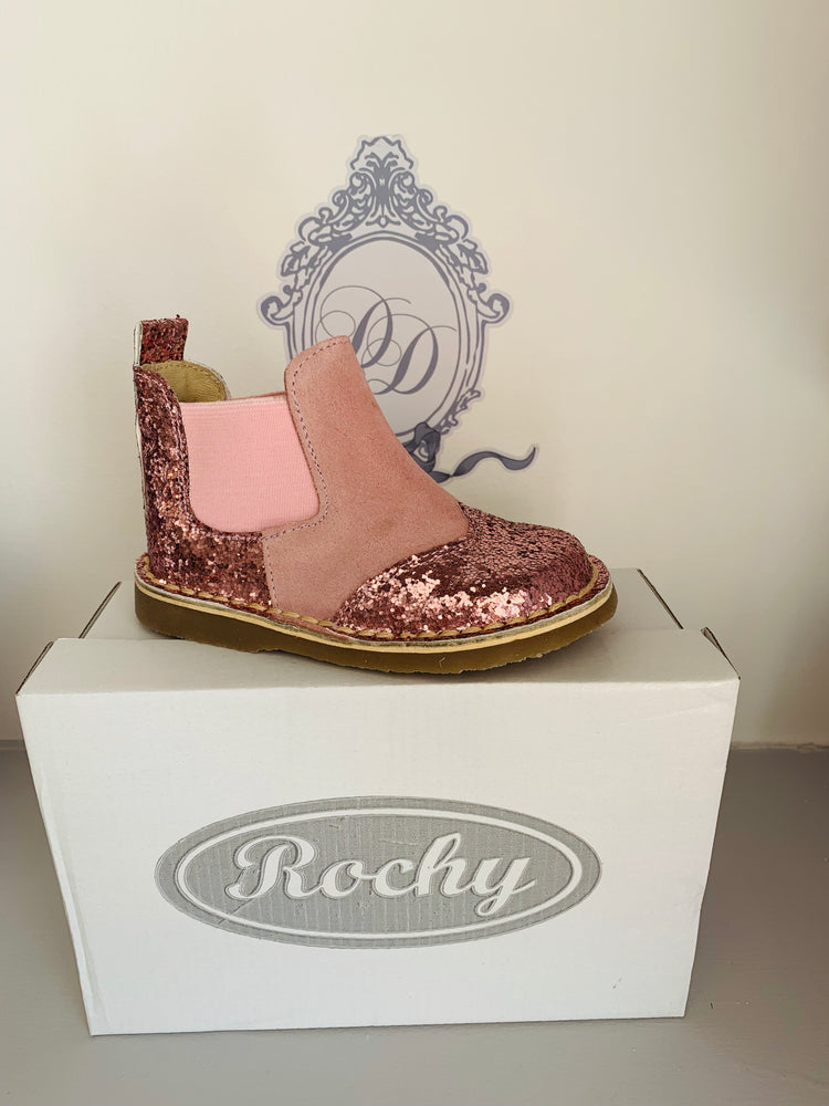 Rochy Pink Glitter Chelsea Boot