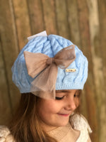 Rahigo Tulle Bow Baby Blue Beret Hat Non Returnable - dainty delilah spanish childrens wear