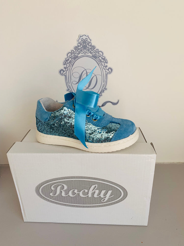 AW19 Rochy Blue Glitter Ribbon Tie Shoe