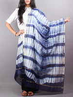 Indigo White Chanderi Shibori Dyed in Natural Colors Dupatta- D0417051