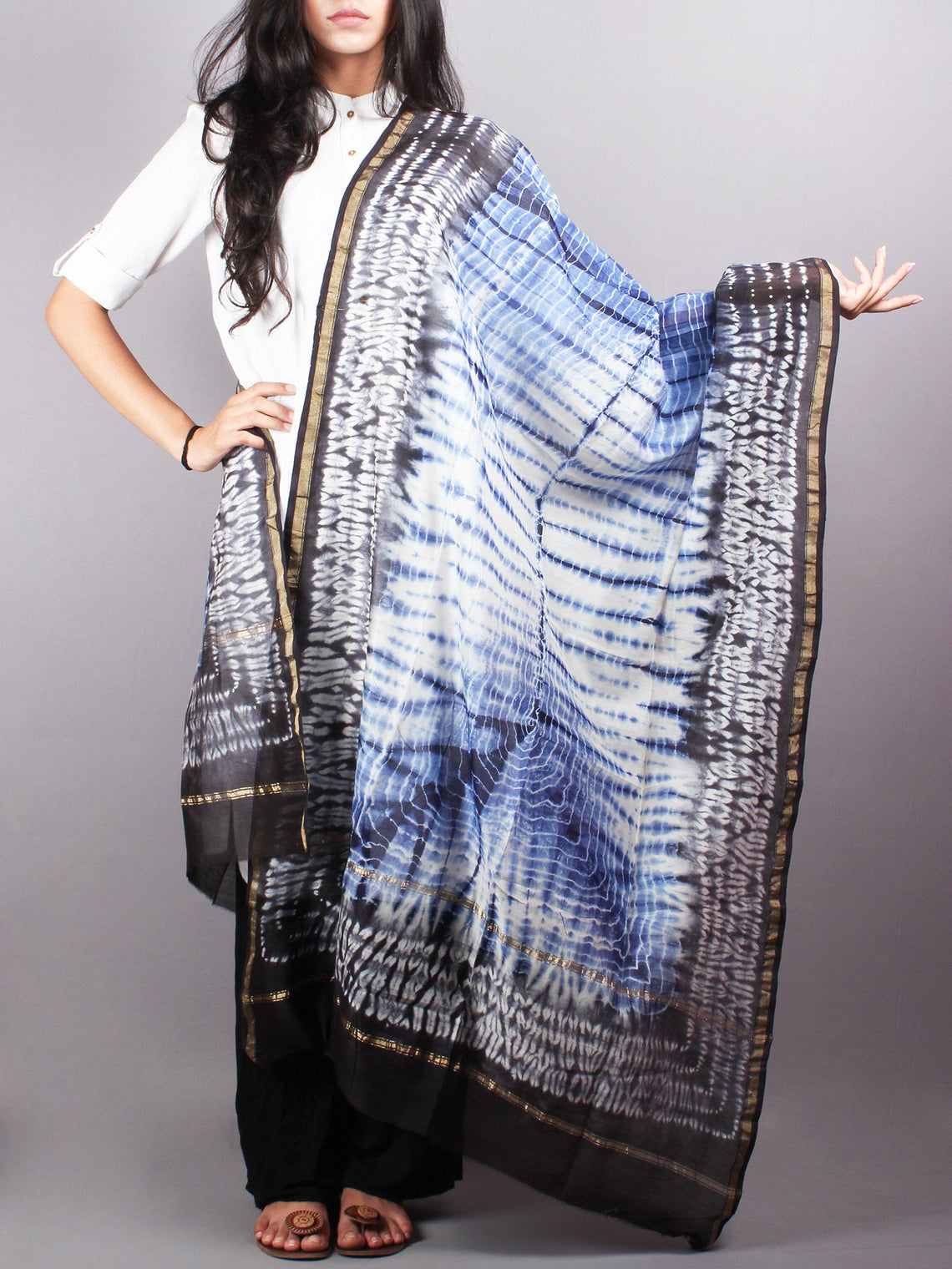 Indigo Black Chanderi Shibori Dyed in Natural Colors Dupatta with Bandani Touch - D0417050