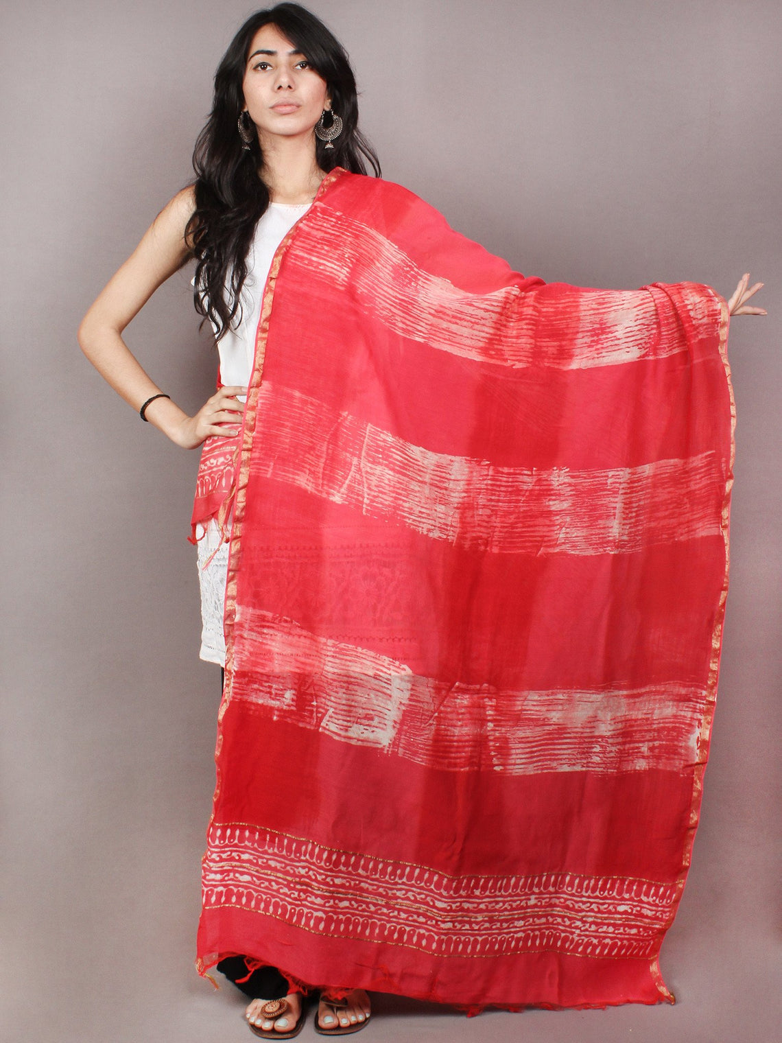 Red White Chanderi Hand Block Printed Dupatta- D0417095
