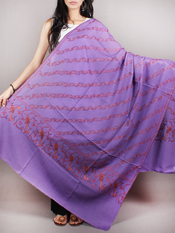 Purple Brown Yellow Pure Wool Jaldar Cashmere Shawl With Needle Embroidery From Kashmir - S200302