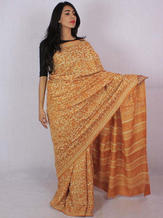 Tussar Handloom Silk Hand Block Printed Saree in Mustard Ivory - S031701198