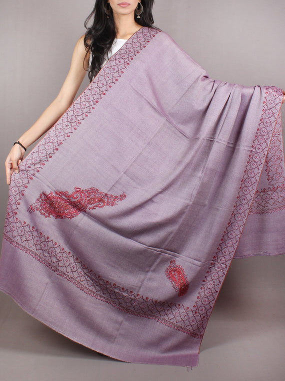 Purple Red Pink Pure Wool Jalidour Koundar Cashmere Shawl From Kashmir - S200402