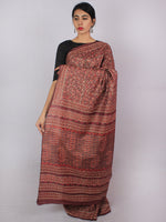 Tussar Handloom Silk Hand Block Printed Saree in Plum Ivory Grey - S031701207