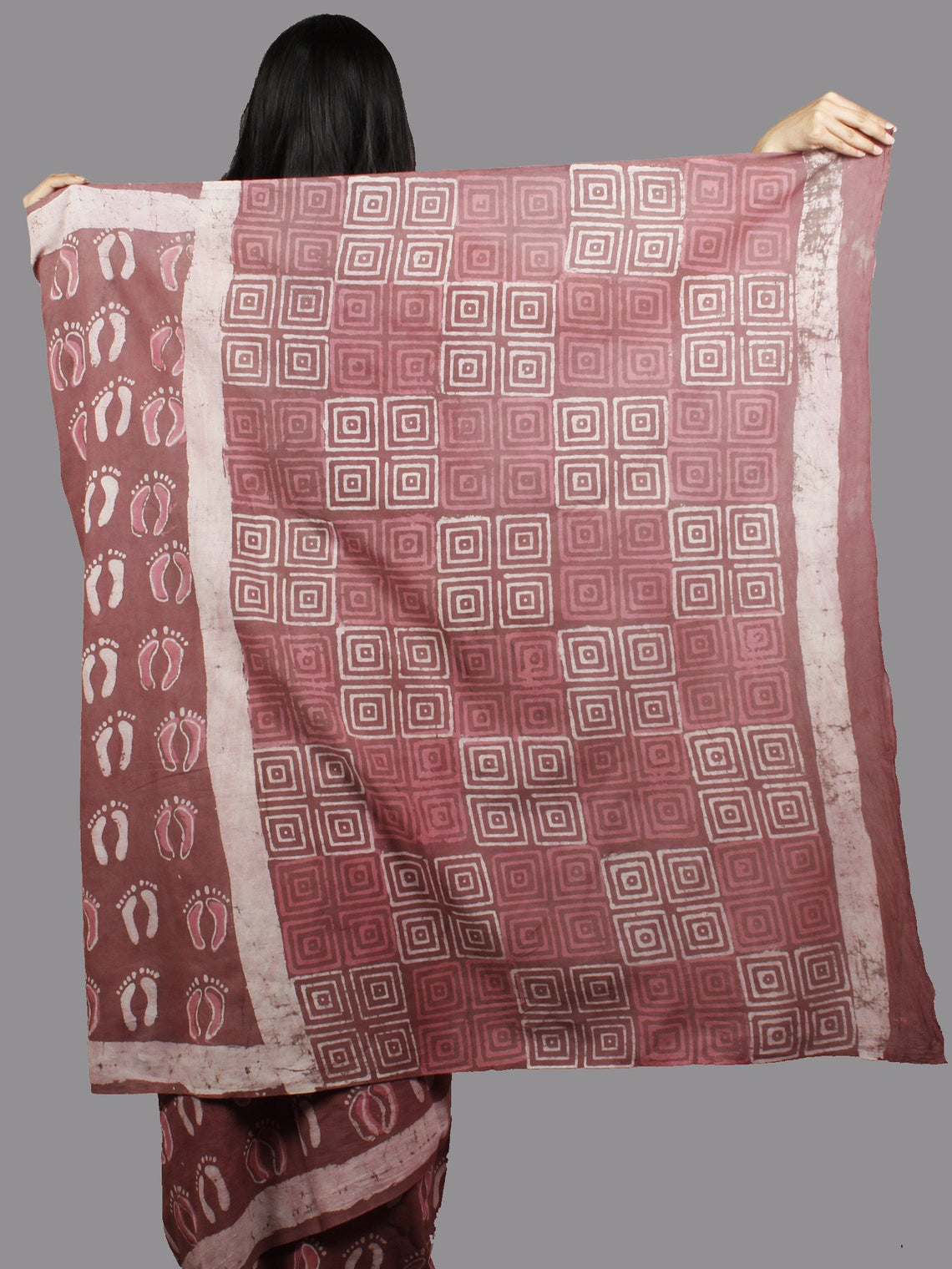 Rosewood Pink Ivory Hand Block Printed Cotton Saree - S031701379