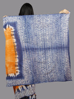 Orange Indigo Ivory Hand Shibori Dyed Cotton Saree - S031701380