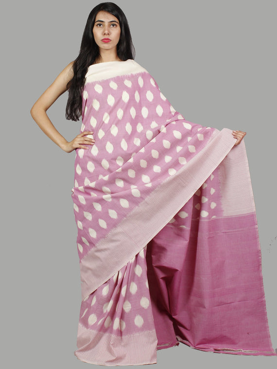 Pastel Purple Ivory Ikat Handwoven Pochampally Mercerized Cotton Saree - S031701445