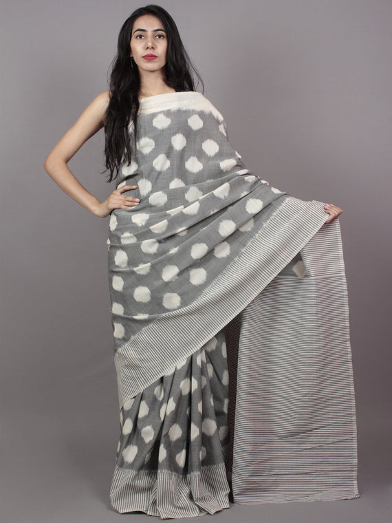 Pastel Grey Ivory Ikat Handwoven Pochampally Mercerized Cotton Saree - S031701511