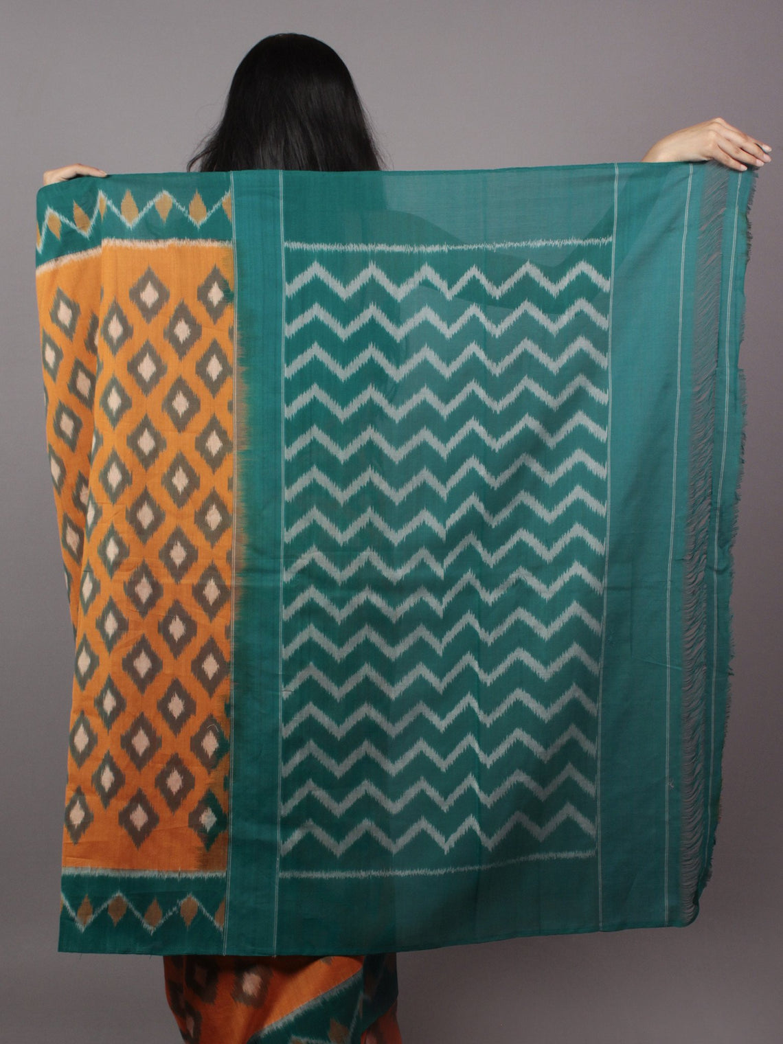 Orange Green Beige Ikat Handwoven Pochampally Mercerized Cotton Saree - S031701642