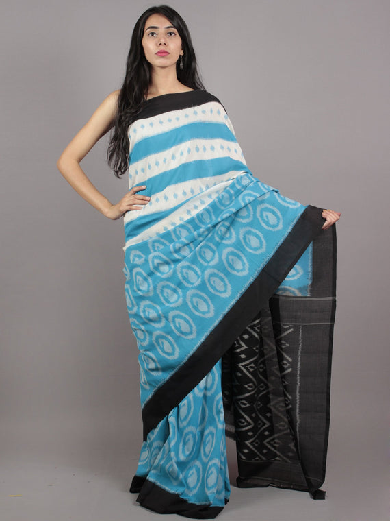 Sky Blue Ivory Black Grey Ikat Handwoven Pochampally Mercerized Cotton Saree - S031701583
