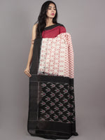 Red Ivory Black Pink Ikat Handwoven Pochampally Mercerized Cotton Saree - S031701620