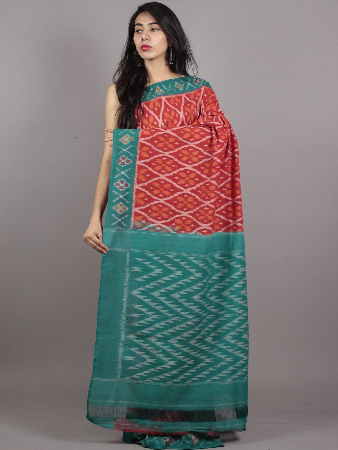 Maroon Green Orange Grey Ikat Handwoven Pochampally Mercerized Cotton Saree - S031701626