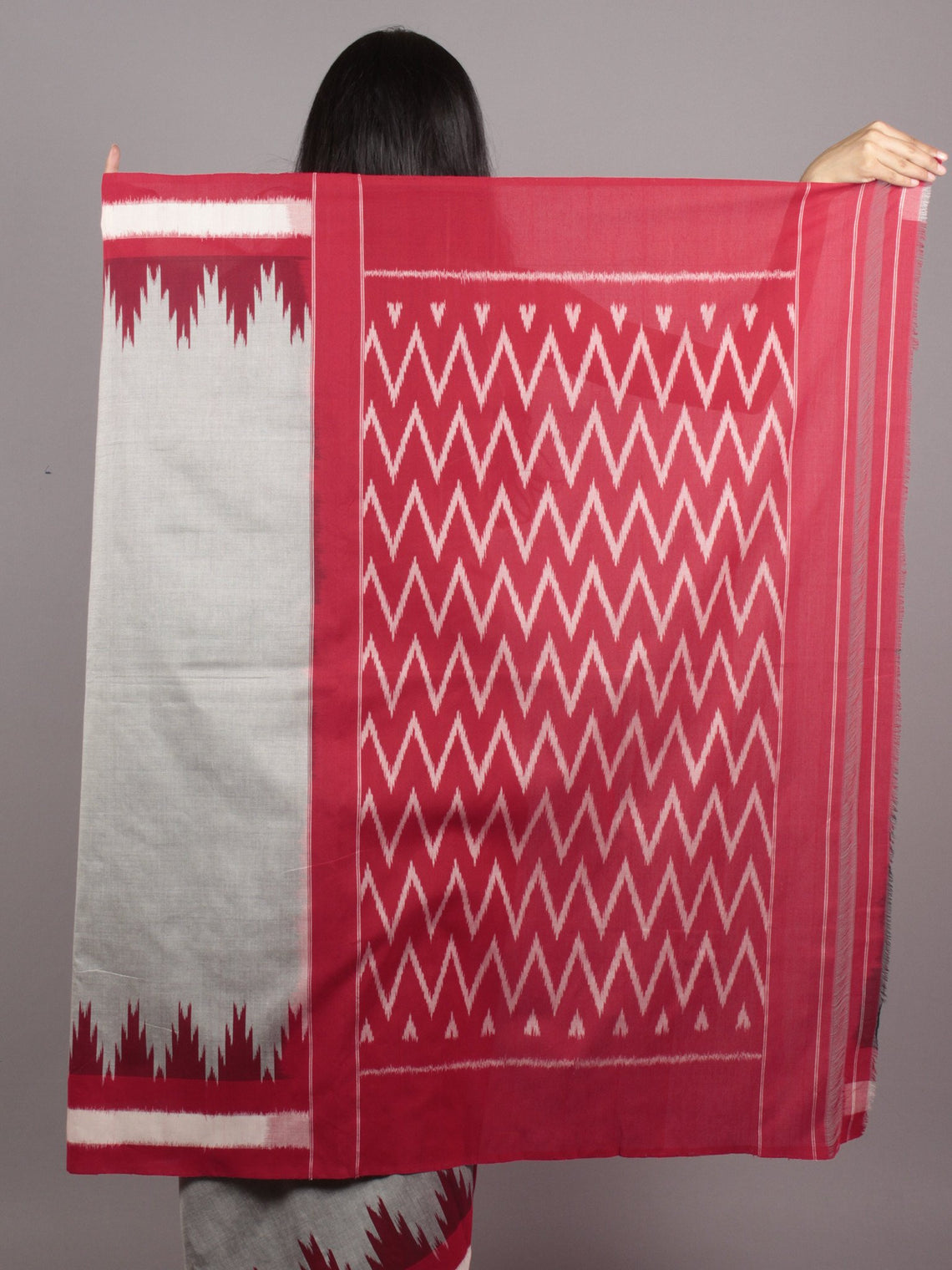Grey Maroon Red Ivory Ikat Handwoven Pochampally Mercerized Cotton Saree - S031701627