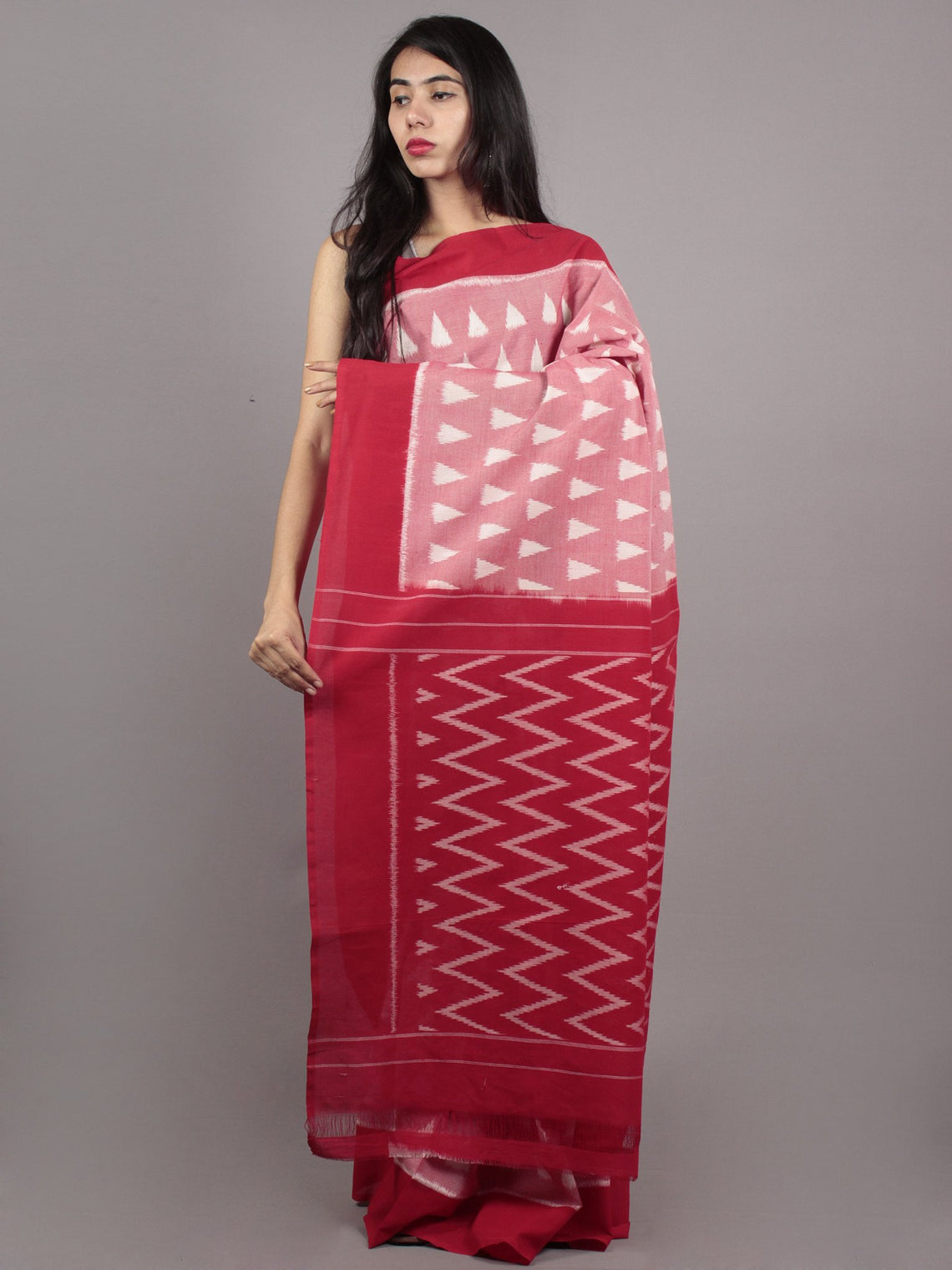 Red Maroon Ivory Ikat Handwoven Pochampally Mercerized Cotton Saree - S031701629