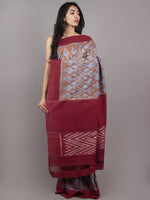 Brown Maroon Blue Ikat Handwoven Pochampally Mercerized Cotton Saree - S031701635
