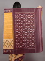 Yellow Brown Multi Color Ikat Handwoven Pochampally Mercerized Cotton Saree - S031701638