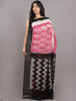 Pink White Black Grey Ikat Handwoven Pochampally Mercerized Cotton Saree - S031701640
