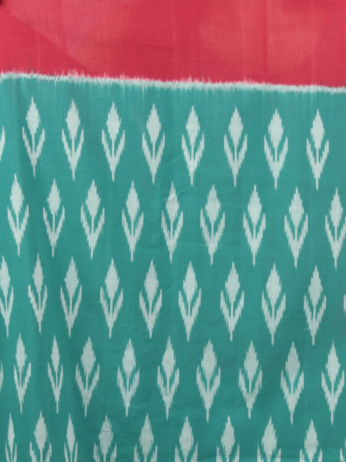 Teal Green Red Yellow Grey Ikat Handwoven Pochampally Mercerized Cotton Saree - S031701641