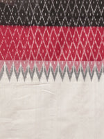 Ivory Black Maroon Grey Ikat Handwoven Pochampally Mercerized Cotton Saree - S031701643