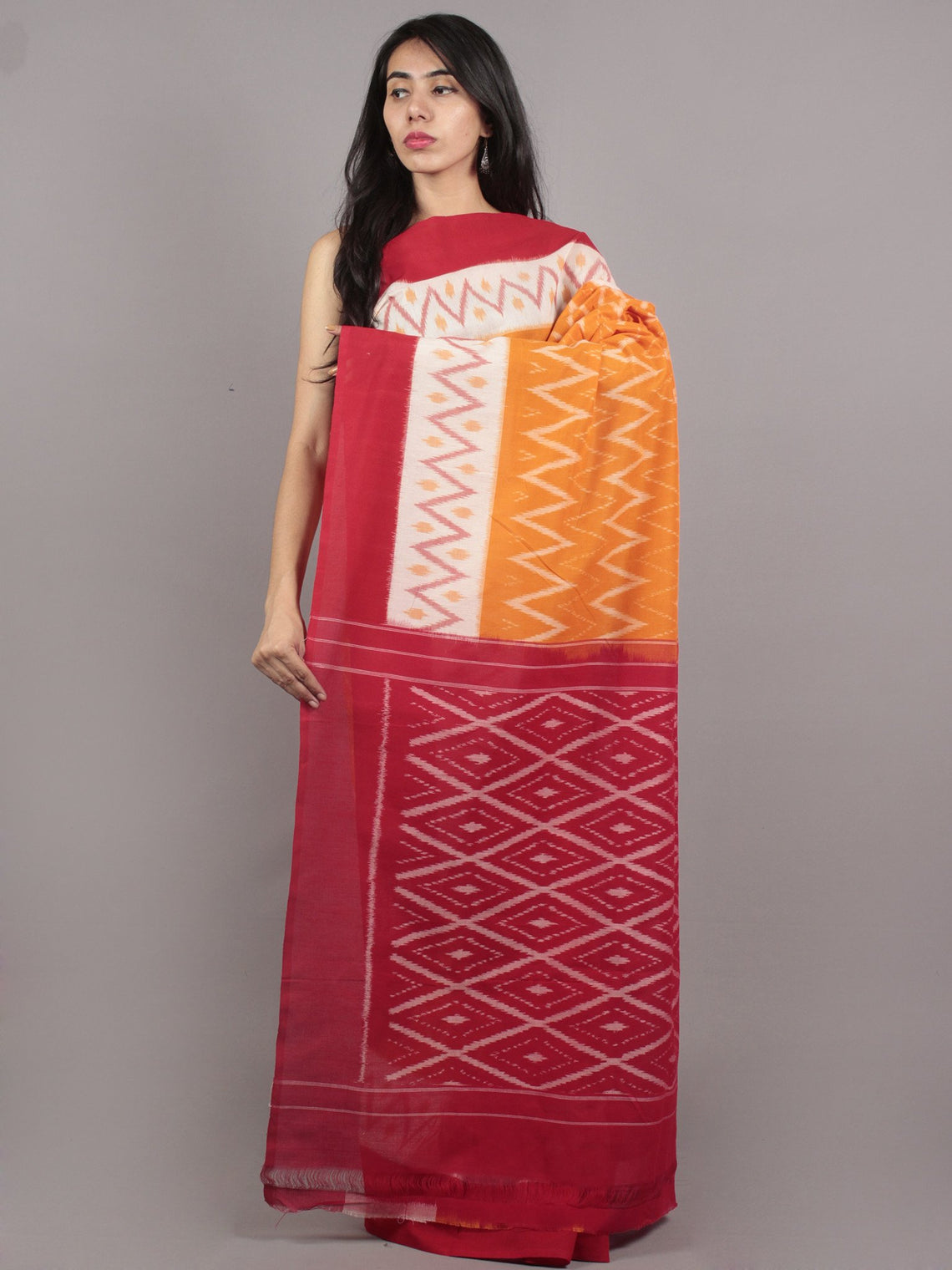 Orange Ivory Red Ikat Handwoven Pochampally Mercerized Cotton Saree - S031701644