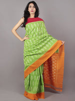 Pastel Green Red Orange Ivory Ikat Handwoven Pochampally Mercerized Cotton Saree - S031701648