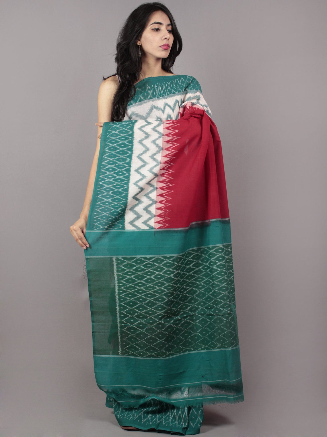 Red Ivory Teal Green Ikat Handwoven Pochampally Mercerized Cotton Saree - S031701651