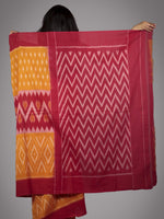 Orange Red Ivory Ikat Handwoven Pochampally Mercerized Cotton Saree - S031701655