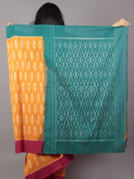 Orange Teal Green Red Ivory Ikat Handwoven Pochampally Mercerized Cotton Saree - S031701659