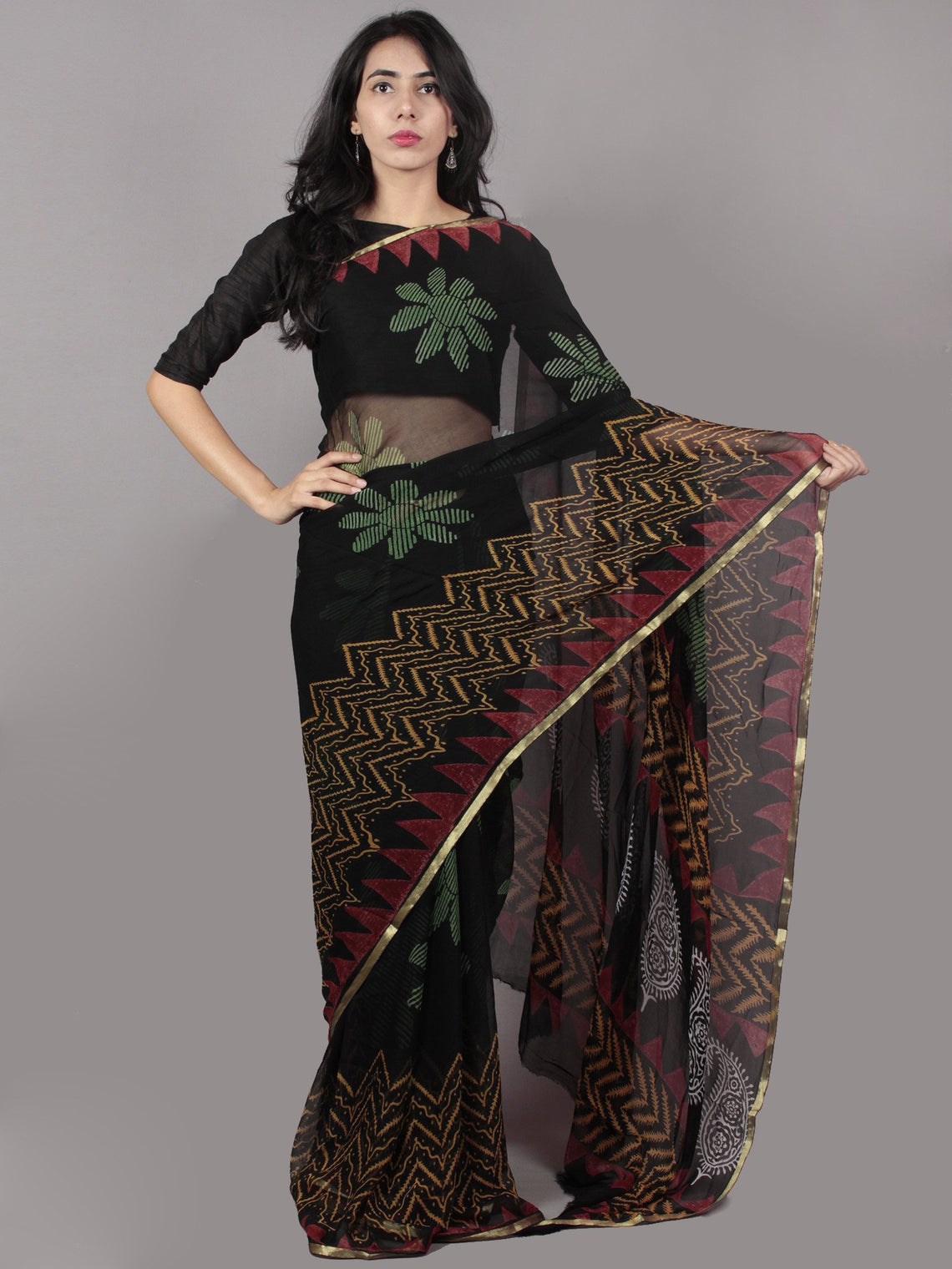 Black Green Yellow Red Hand Block Printed in Natural Colors Chiffon Saree - S031701662