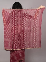 Maroon Pink Beige Hand Block Printed in Natural Colors Chiffon Saree - S031701664