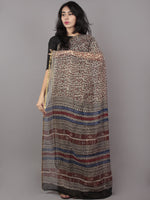 Beige Brown Blue Maroon Hand Block Printed Chiffon Saree - S031701667