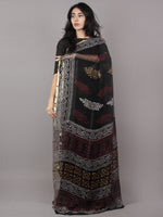 Black Ivory Maroon Yellow Hand Block Printed Chiffon Saree - S031701670