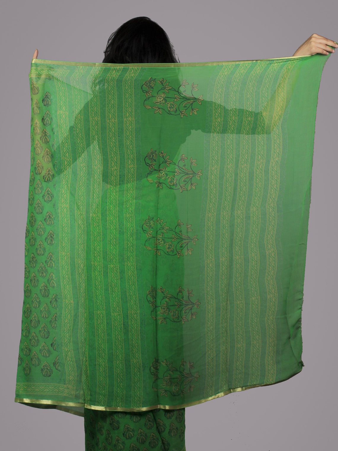 Basil Green Yellow Hand Block Printed Chiffon Saree - S031701674