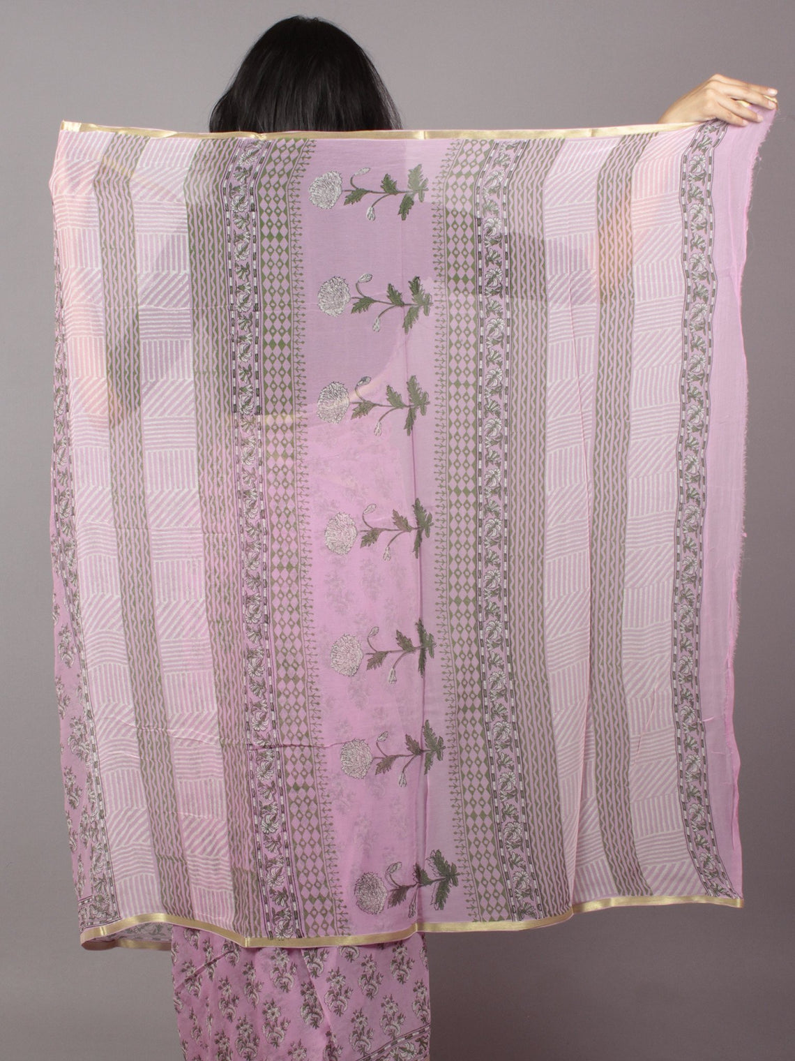 Pastel Purple Ivory Green Hand Block Printed Chiffon Saree - S031701683