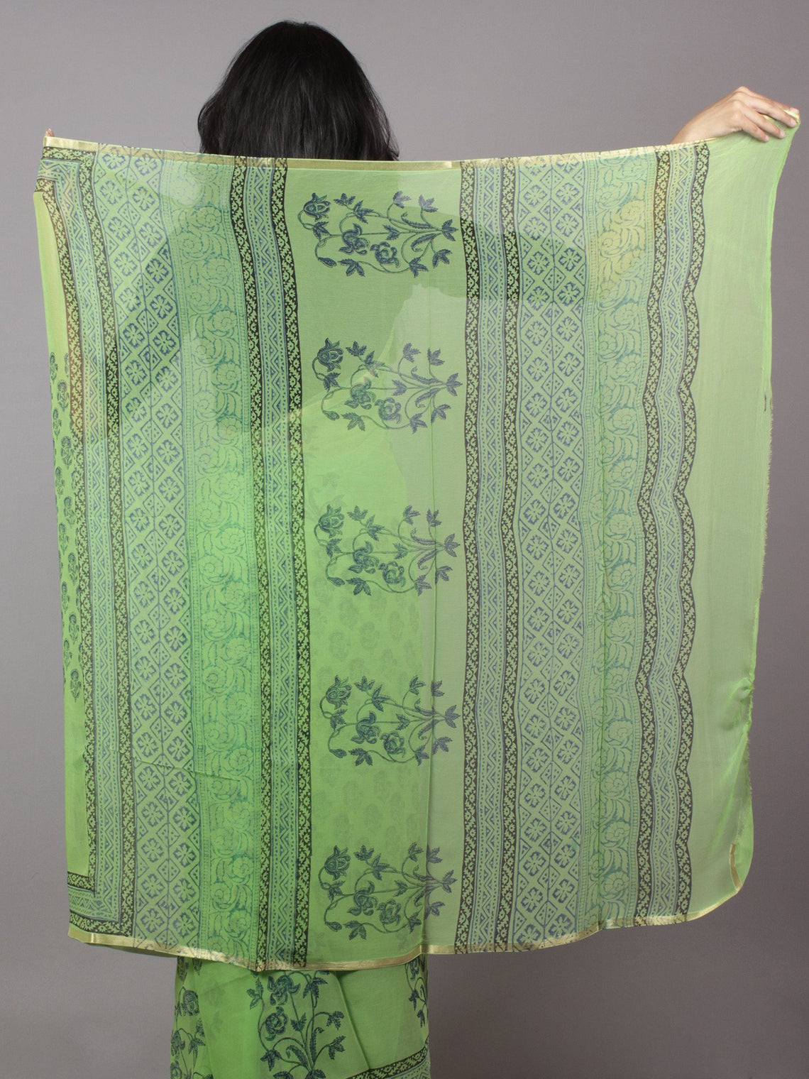 Pastel Green Blue Grey Hand Block Printed Chiffon Saree - S031701688