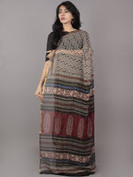 Ivory Black Hand Block Printed Chiffon Saree - S031701693