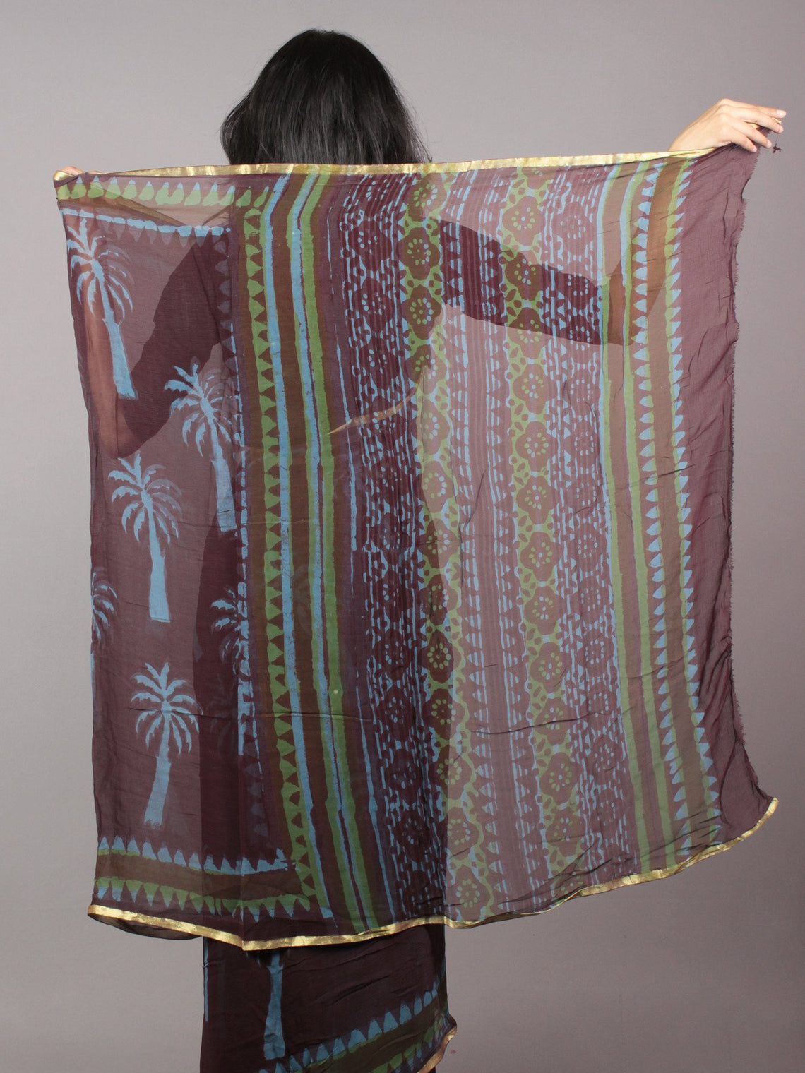 Brown Blue Hand Block Printed Chiffon Saree - S031701694
